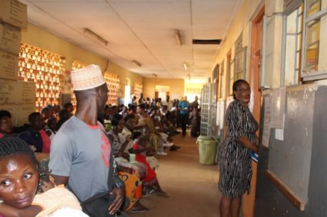 Patients at Kawala Health Center queue to see a health worker. Photo Credit